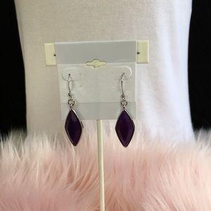 Purple dangling fashion earrings